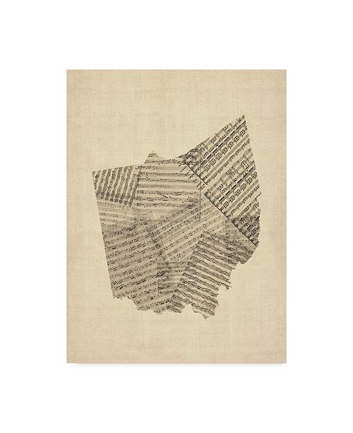 "Trademark Global Michael Tompsett Old Sheet Music Map of Ohio Canvas Art - 20"" x 25"""