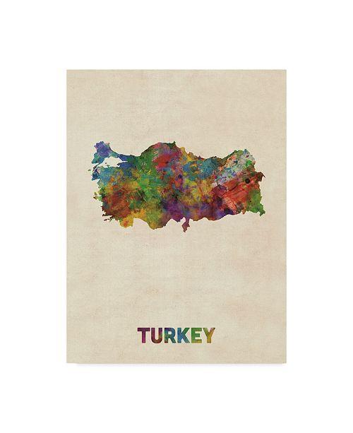 "Trademark Global Michael Tompsett Turkey Watercolor Map Canvas Art - 37"" x 49"""