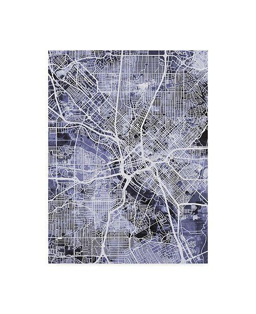 "Trademark Global Michael Tompsett Dallas Texas City Map Blue Canvas Art - 15"" x 20"""