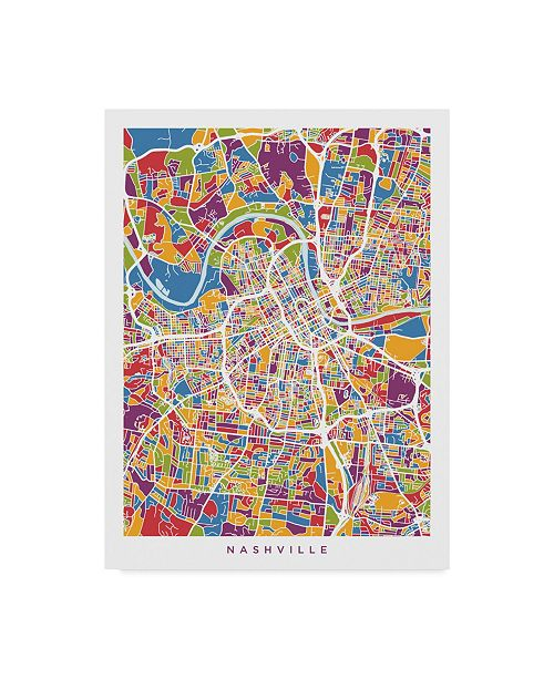 "Trademark Global Michael Tompsett Nashville Tennessee City Map Color Canvas Art - 15"" x 20"""