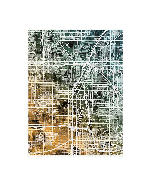 "Trademark Global Michael Tompsett Las Vegas City Street Map Teal Orange Canvas Art - 15"" x 20"""