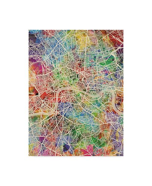 "Trademark Global Michael Tompsett London England Street Map Color Canvas Art - 20"" x 25"""
