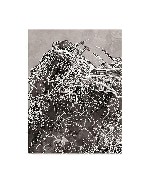 "Trademark Global Michael Tompsett Cape Town South Africa City Street Map Black Canvas Art - 15"" x 20"""