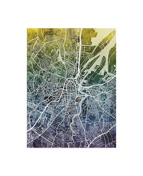 "Trademark Global Michael Tompsett Belfast Northern Ireland City Map Blue Yellow Canvas Art - 15"" x 20"""