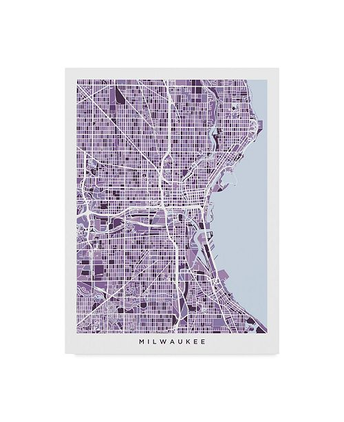 "Trademark Global Michael Tompsett Milwaukee Wisconsin City Map Purple Canvas Art - 15"" x 20"""