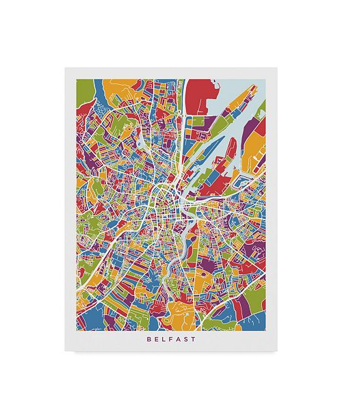 "Trademark Global Michael Tompsett Belfast Northern Ireland City Map Canvas Art - 37"" x 49"""