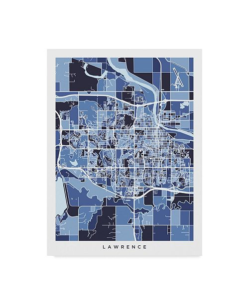 "Trademark Global Michael Tompsett Lawrence Kansas City Map Blue Canvas Art - 20"" x 25"""