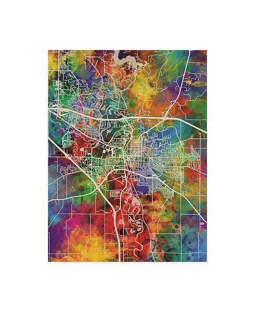 "Trademark Global Michael Tompsett Iowa City Map Canvas Art - 15"" x 20"""