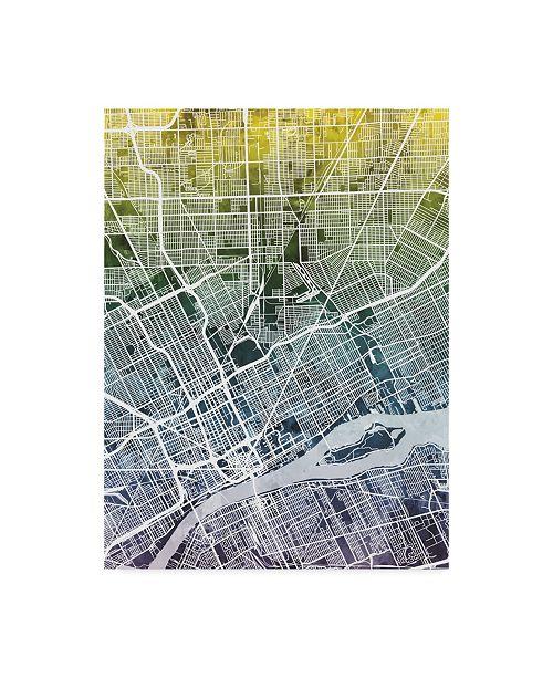"Trademark Global Michael Tompsett Detroit Michigan City Map Blue Yellow Canvas Art - 15"" x 20"""