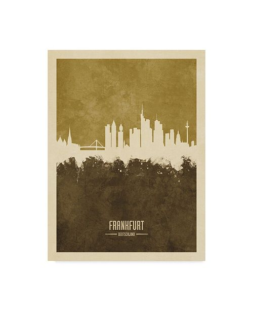 "Trademark Global Michael Tompsett Frankfurt Germany Skyline Brown Canvas Art - 20"" x 25"""
