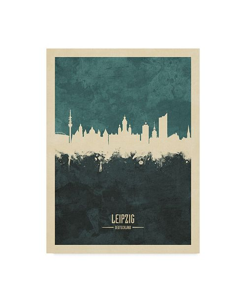"Trademark Global Michael Tompsett Leipzig Germany Skyline Teal Canvas Art - 15"" x 20"""