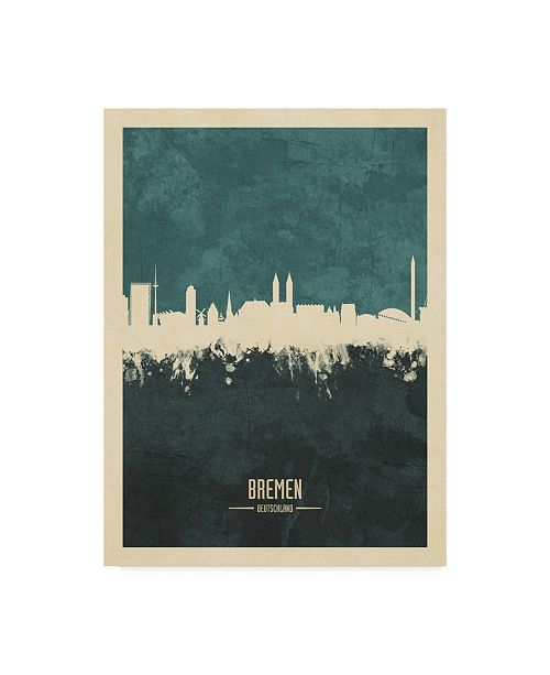 "Trademark Global Michael Tompsett Bremen Germany Skyline Teal Canvas Art - 15"" x 20"""
