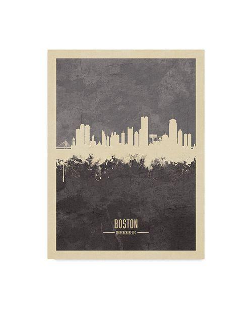 "Trademark Global Michael Tompsett Boston Massachusetts Skyline Gray Canvas Art - 15"" x 20"""