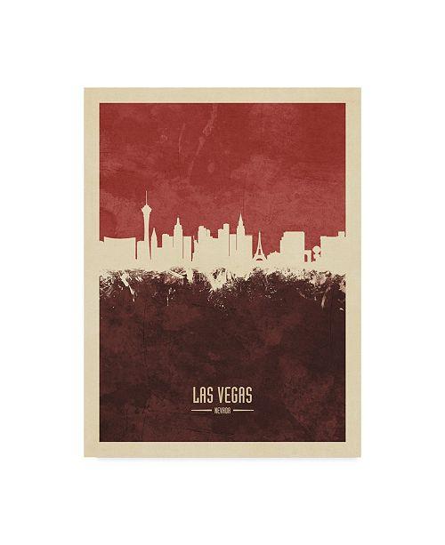 "Trademark Global Michael Tompsett Las Vegas Nevada Skyline Red II Canvas Art - 20"" x 25"""