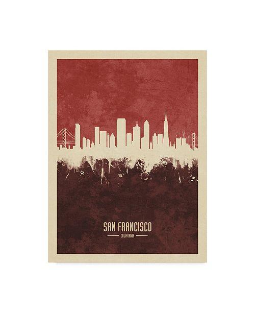 "Trademark Global Michael Tompsett San Francisco California Skyline Red II Canvas Art - 15"" x 20"""