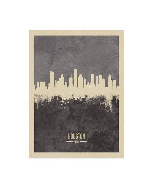 "Trademark Global Michael Tompsett Houston Texas Skyline Gray Canvas Art - 20"" x 25"""