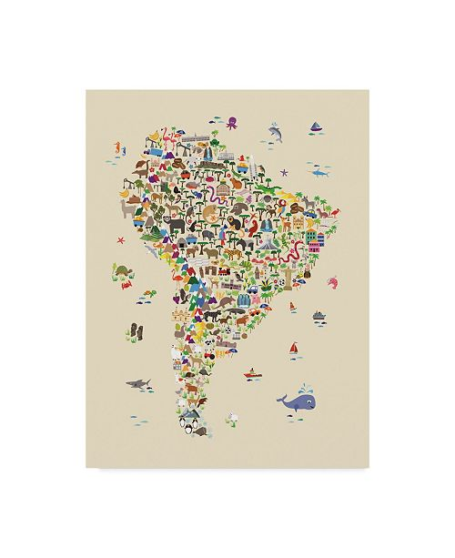 "Trademark Global Michael Tompsett Animal Map of South America For Children and Kids Beige Canvas Art - 15"" x 20"""