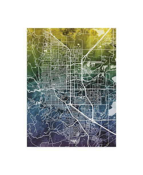 "Trademark Global Michael Tompsett Boulder Colorado City Map Blue Yellow Canvas Art - 15"" x 20"""