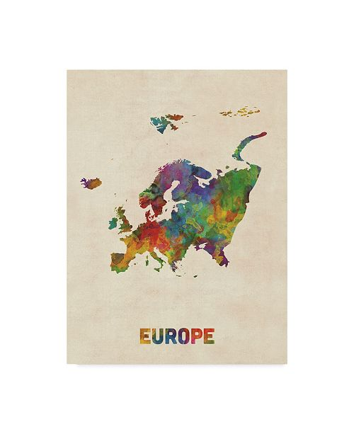 "Trademark Global Michael Tompsett Europe Continent Watercolor Map Canvas Art - 15"" x 20"""