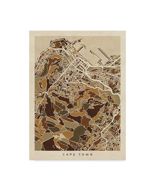 "Trademark Global Michael Tompsett Cape Town South Africa City Street Map Brown Canvas Art - 20"" x 25"""