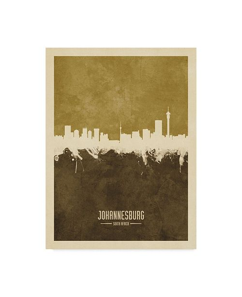 "Trademark Global Michael Tompsett Johannesburg South Africa Skyline Brown Canvas Art - 15"" x 20"""