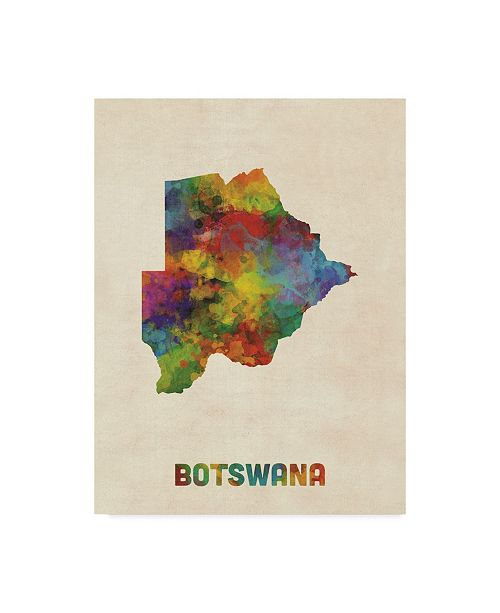 "Trademark Global Michael Tompsett Botswana Watercolor Map Canvas Art - 20"" x 25"""