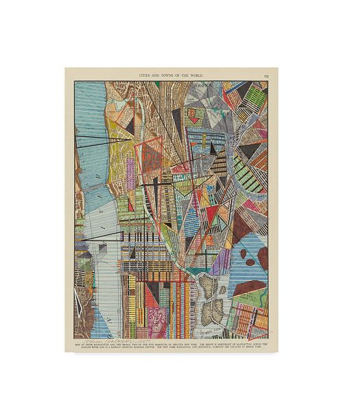 "Trademark Global Nikki Galapon Modern Map of New York I Canvas Art - 37"" x 49"""