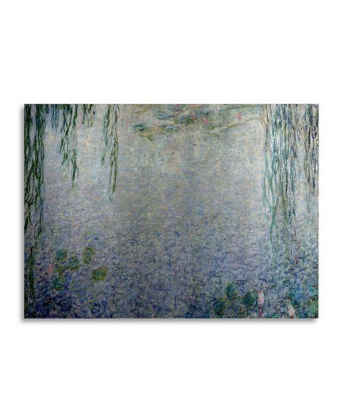 "Trademark Global Claude Monet Waterlillies Morning II Floating Brushed Aluminum Art - 22"" x 25"""