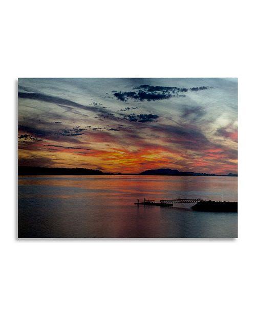 "Trademark Global Pierre Leclerc Sunset Pier Floating Brushed Aluminum Art - 22"" x 25"""