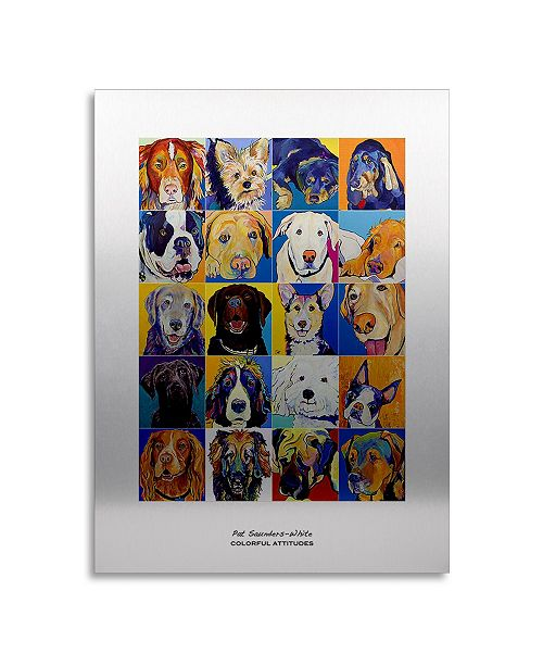"Trademark Global Pat Saunders-White Colorful Attitudes Poster Floating Brushed Aluminum Art - 22"" x 25"""