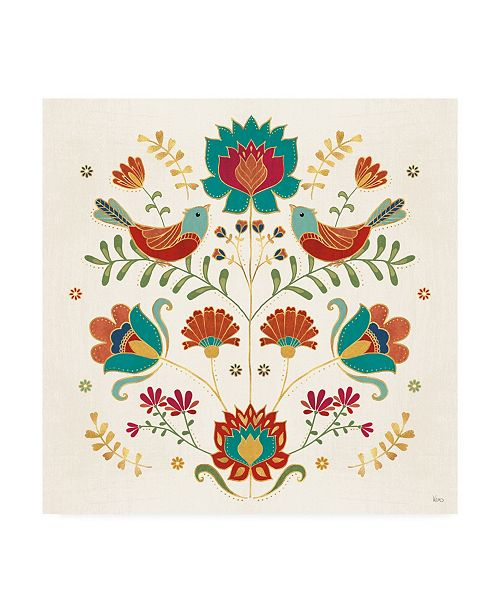 "Trademark Global Veronique Charron Folk Floral 2 Canvas Art - 20"" x 25"""