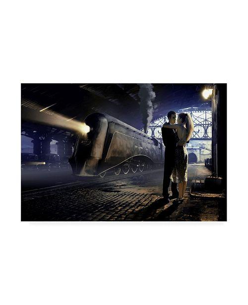 "Trademark Global Chris Consani Train Depot Kiss Canvas Art - 15"" x 20"""
