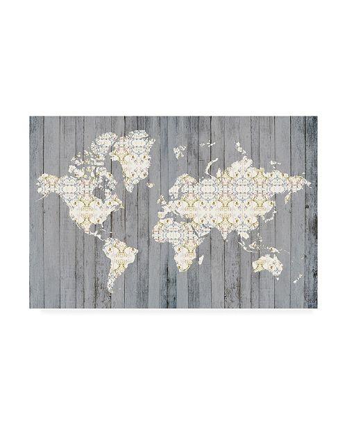 """Trademark Global Jennifer Goldberger Flower Map I Canvas Art - 20"""" x 25"""""""