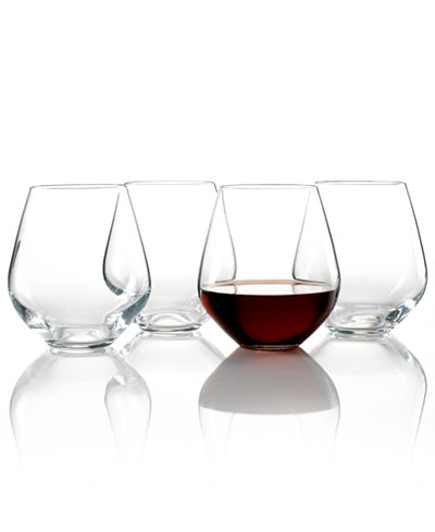 Lenox stemware tuscany classics stemless red set of 4 all glassware drinkware dining - Lenox stemless red wine glasses ...