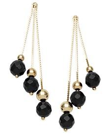 14k Gold Earrings, Faceted Onyx 3-Drop Earrings (9 ct. t.w.)