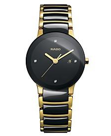 Women's Swiss Centrix Diamond Accent Black Ceramic and Gold-Tone PVD Stainless Steel Bracelet Watch 28mm R30930712