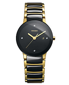Rado Women's Swiss Centrix Diamond Accent Black Ceramic and Gold-Tone PVD Stainless Steel Bracelet Watch 28mm R30930712