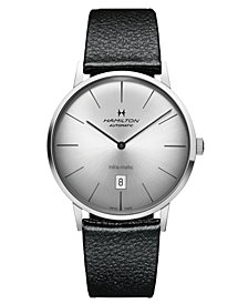 Hamilton Watch, Men's Swiss Automatic Intra-Matic Black Leather Strap 42mm H38755751