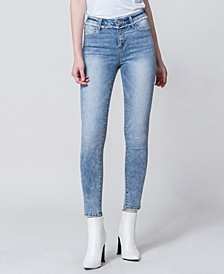 High Rise Acid Wash Ankle Skinny Jeans