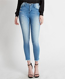 Flying Monkey High Rise Fray Waistband Hem Crop Skinny Jeans