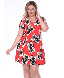 White Mark Women's Plus Size Fit and Flare Dress
