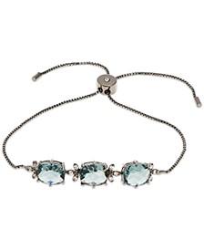 Hematite-Tone Crystal & Stone Slider Bracelet