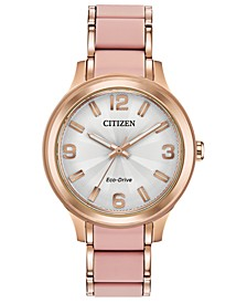 Drive From Eco-Drive Women's Rose Gold-Tone Stainless Steel & Pink Silicone Bracelet Watch 36mm