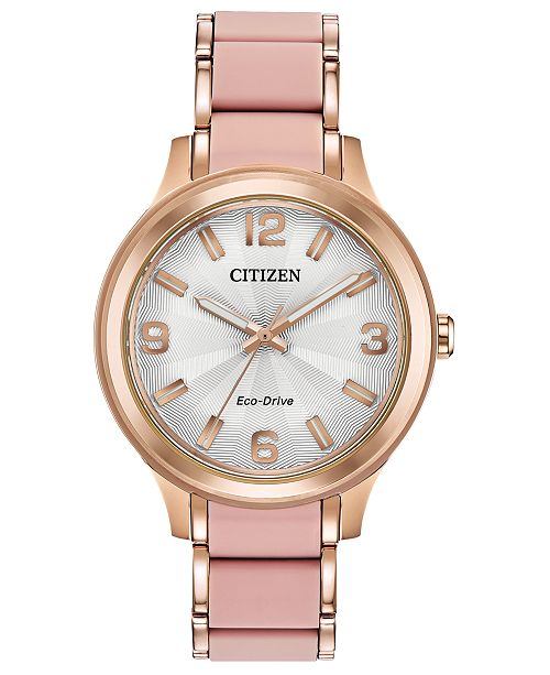 Citizen Drive From Eco-Drive Women's Rose Gold-Tone Stainless Steel & Pink Silicone Bracelet Watch 36mm