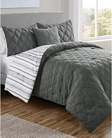 Quad Diamond 4-Pc. Full/Queen Reversible Comforter Set