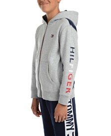 Tommy Hilfiger Big Boys Tim Icon Pieced Colorblocked Full-Zip Fleece Logo Hoodie
