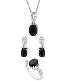 3-Pc. Set Onyx & Diamond Accent Pendant Necklace, Drop Earrings & Ring in Sterling Silver