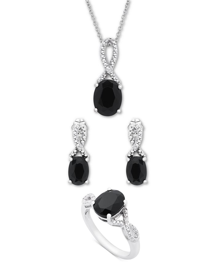 Macy's - 3-Pc. Set Onyx & Diamond Accent Pendant Necklace, Drop Earrings & Ring in Sterling Silver