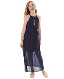 BCX Big Girls Scalloped Maxi Halter Dress
