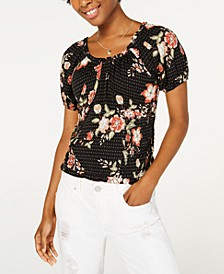 Juniors' Printed Smocked Top, Created for Macy's